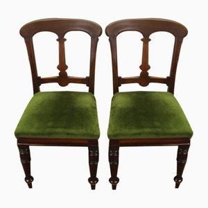 Antique Mahogany Side Chairs with Pop Out Seats, 1910s, Set of 2