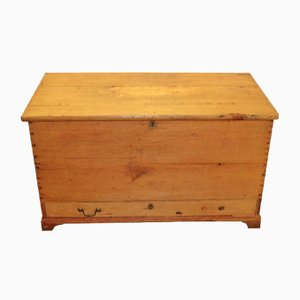 Antique Rustic Pinewood Blanket Box Trunk, 1900s