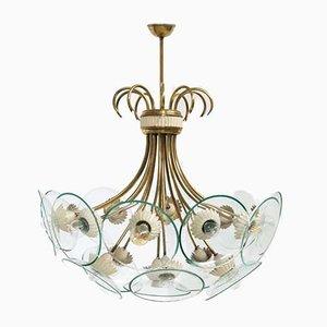 Lampada da soffitto vintage in ottone e cristallo di Pietro Chiesa per Fontana Arte, anni '40