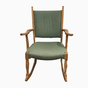 Vintage Danish Oak and Green Wool Rocking Chair, 1970s