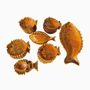 Servizio da pesce in ceramica di Vallauris, anni '60