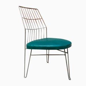 Deutsche Bauhaus Esszimmerstühle aus Metall & grünem Skai, 1940er, 4er Set
