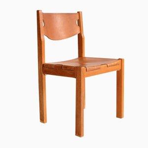 Ulmenholz Esszimmerstühle von Maison Regain, 1970er, 4er Set