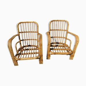 Bamboo Rattan Armchairs in the Style of Audoux Minet, 1970s, Set of 2