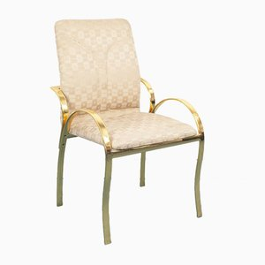 Vintage Brass and Fabric Dining Chairs, 1970s, Set of 4