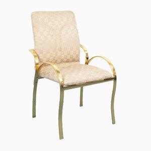 Vintage Esszimmerstühle aus Messing & Stoff, 1970er, 4er Set