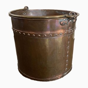 Large Antique Handmade Brass and Copper Firewood Bucket or Planter