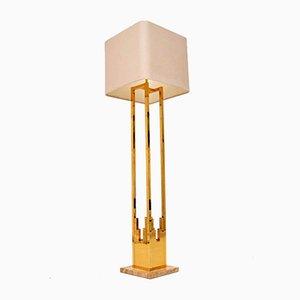 Vintage Italian Brass and Marble Floor Lamp from F. Fabbian, 1970s