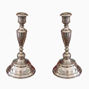 Antique Silver Candleholders, Set of 2