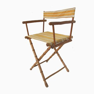 Vintage Handmade Wooden Faux Bamboo Folding Side Chair, 1930s