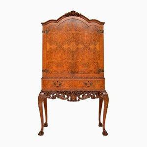Antique Queen Anne Style Burl Walnut Cocktail Cabinet