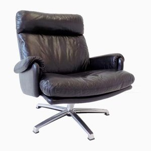 Black Leather Lounge Chair by Werner Langenfeld for ESA, 1960s