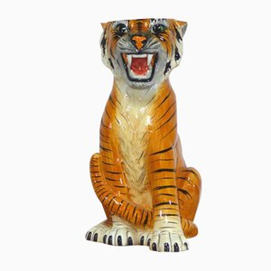 Vintage Sculptural Tiger Umbrella Stand, 1970s