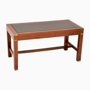 Antique Mahogany Coffee Table with Leather Top, 1950s