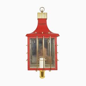 Applique Mid-Century in metallo rosso, ottone e vetro, Italia, anni '50