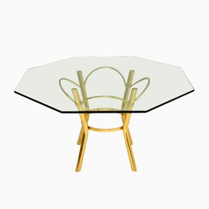 Vintage Brass and Glass Dining Table, 1970s