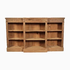 Antique Bleached Carved Oak Open Bookcase