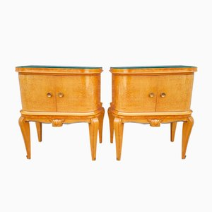Sycamore Veneer Nightstands, 1940s, Set of 2