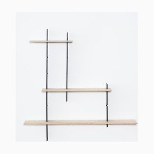 Phi-60 Medium Shelving System in Natural Birch with Black Vertical Beams by Jordi Canudas for Delica