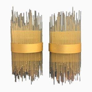 Italienische 2-Leuchten Wandlampen aus Glas und Metall, 1970er, 2er Set