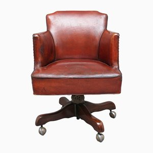Mid-Century Leather Swivel Desk Chair, 1950s