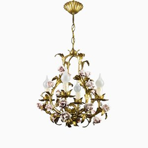 Vintage Italian Tôle Chandelier with Pink Ceramic Roses, 1950s