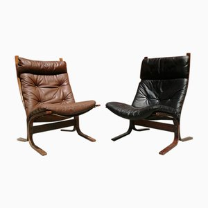 German Leather Lounge Chairs from Westnofa, 1970s, Set of 2