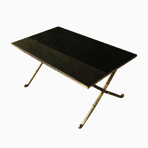 Italian Gilt Brass Faux Bamboo Coffee Table with Black Opaline Glass Top, 1960s