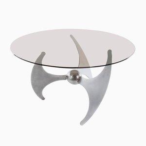 Tavolino da caffè Elica in acciaio di L. Campanini, anni '70