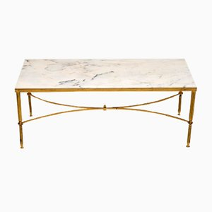 Vintage Italian Brass and Marble Coffee Table, 1950s