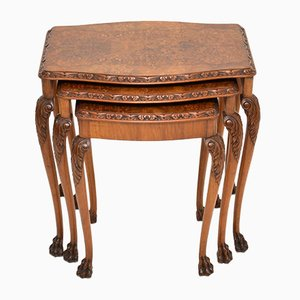 Antique Burl Walnut Nesting Tables, 1930s