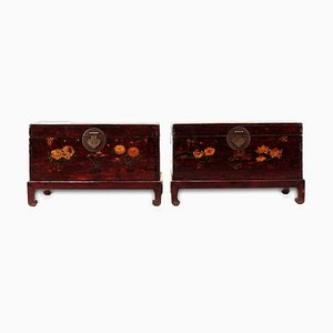 Antique Painted Trunks with Stands, Set of 2