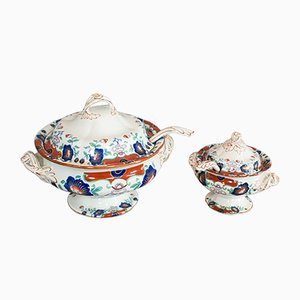 Vintage Art Deco English Ironstone Soup Tureen and Cranberry Dish Set, 1930s