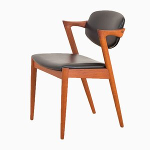 Danish Teak and Black Leather Model 62 Dining Chair by Kai Kristiansen for Schou Andersen, 1960s