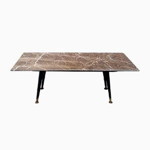 Italian Gray Marble, Matt Black Wood, and Brass Coffee Table, 1950s