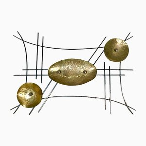 Large German Wrought Brass and Iron Abstract Sculptural Wall Relief, 1950s