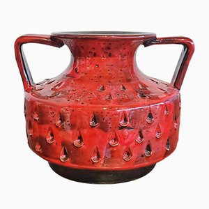 Italian Handmade Red Como Decor Double Handled Vase from Fratelli Fanciullacci, 1960s