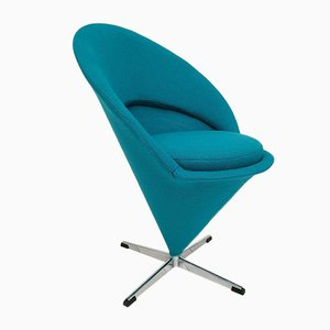 Danish Turquoise Blue Cone Chair by Verner Panton for Fritz Hansen, 1970s