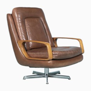 Vintage Cognac Leather Swivel Lounge Chair, 1960s