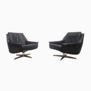 Danish Black Leather Swivel Chair by Werner Langenfeld for ESA, 1960s
