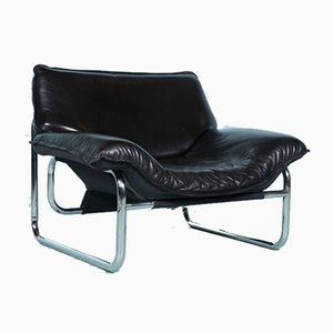 Vintage Leather Lounge Chair by Johann Bertil Häggström for Ikea, 1980s