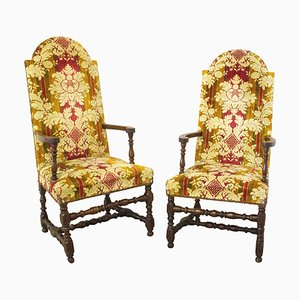 18th Century French Louis XIII Open Armchairs, Set of 2