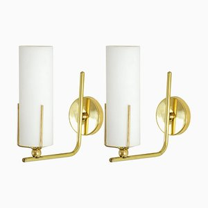 Mid-Century Italian Brass Wall Lights, 1960s, Set of 2