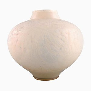 Large Opaline Art Glass Model 919 Aras Vase by René Lalique, 1920s