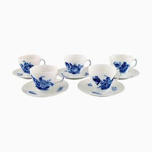 Blue Flower Braided Espresso Cups and Saucers Set from Royal Copenhagen, 1960s