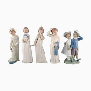 Vintage Spanish Porcelain Figurines of Children from Lladro and Nao, Set of 5