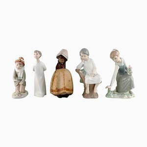 Vintage Spanish Porcelain Figurines of Children by Lladro, Nao and Zaphir, Set of 5