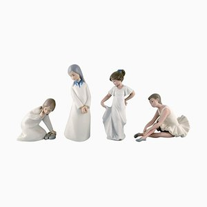 Porcelain Figurines of Young Girls by Nao & Rex for Lladro, Spain 1970s, Set of 4
