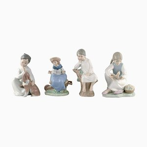 Porcelain Figurines of Children from Lladro & Nao, Spain, 1980s, Set of 4