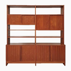 Mid-Century Danish Double Bay Tambour Wall Unit